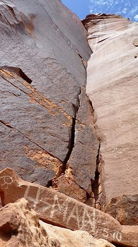 Rock Climbing Photo: The crack on the right is where it's at!