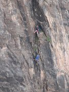 Rock Climbing Photo: Pat coming up to the belay, guidebook pitch 9. Pho...