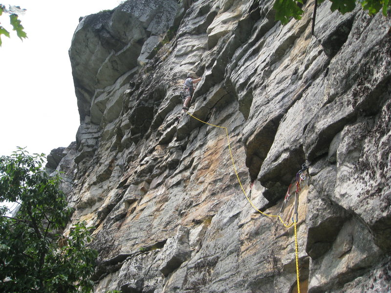 Me leading P2 of The Last Will Be First.  You can see there's ample gear leading up to the crux overhang if you stay close enough to the corner.  <br> <br> EDIT:  I now think I was probably NOT on-route for The Last Will Be First, although the route I took was well-protected and nice!  Check out the next photo, where I put in the lines for where I think the routes actually go.  Let me know what you think.