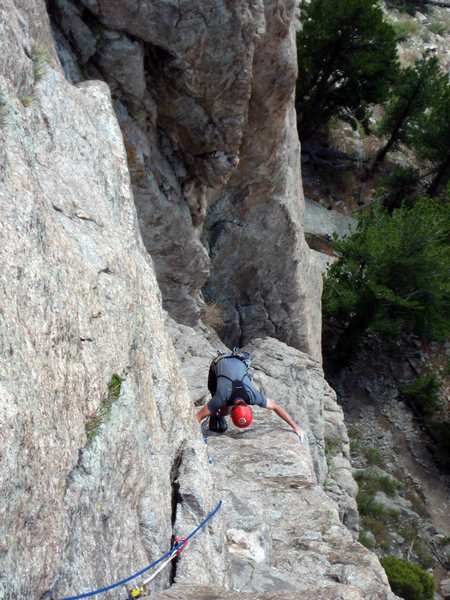 """For the follower, the """"easy face climbing"""" is more of an option. It is mostly bear-hugging the arete and inside edge, stepping into typical Lumpy Ridge scoops. Really makes the leader resent the 2nd."""