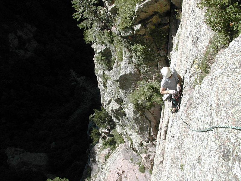 Rock Climbing Photo: Jeremy following the mellow, but superb, face clim...