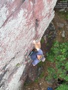 Rock Climbing Photo: Burt pauses before the final section