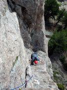 Rock Climbing Photo: Kor's flake namesake pitch.  For the follower, the...
