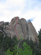 Rock Climbing Photo: Castle Corner route in red (taking the right crack...