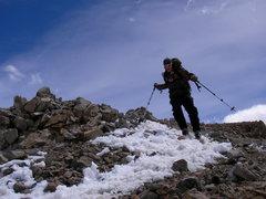 Rock Climbing Photo: Skiing off the summit ramp on Missouri Mtn.  Photo...