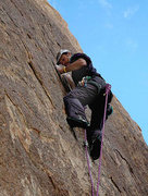 "Rock Climbing Photo: Todd Gordon on the FA of ""Wet Behind, Dry Wal..."