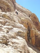 Rock Climbing Photo: First pitch.from here climbs straight up to ledge ...