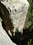 Rock Climbing Photo: Green- Death to Smootchie 5.12a Red- Fallout 5.11c