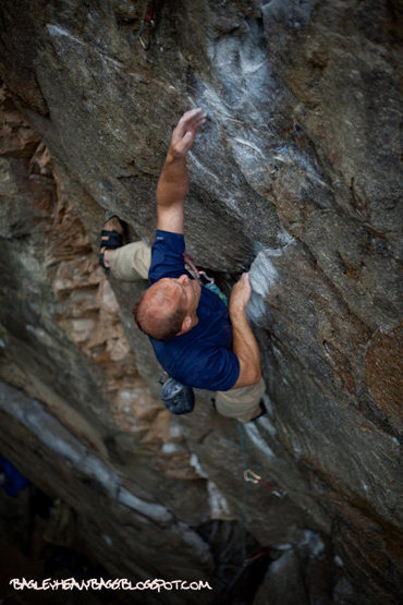 "Rock Climbing Photo: Dominic Tracy reaching for the ""potato chip&q..."