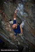"Rock Climbing Photo: Dominic Tracy reaching for the ""potato chip&q..."