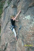 Rock Climbing Photo: Mish leading un-named route 5.9