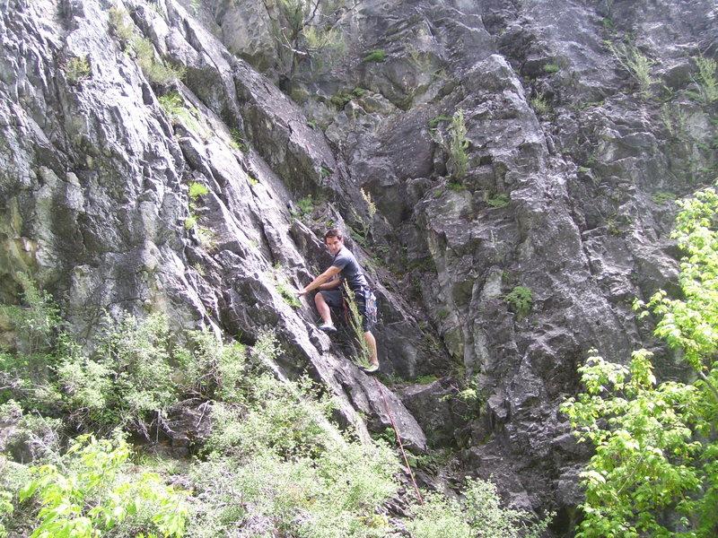 Rock Climbing Photo: John Bitter heading up the easy starting slab
