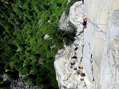 Rock Climbing Photo: Adam Sinner jugging the Kor Roof on 5/19/10