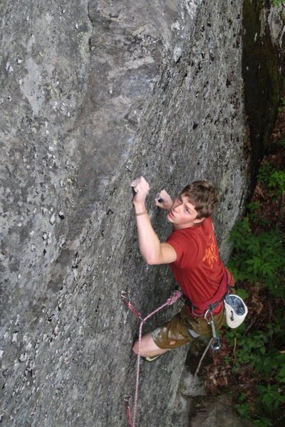 otey setting up for the crux move (we both dyno to the ledge)