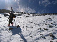 Climbing Torrey's Peak. 45 deg skiing!