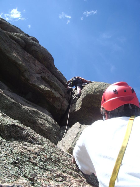 Fourth pitch crack. SchoolDaze, 11-Mile Canyon