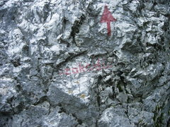 Rock Climbing Photo: The start of many of the routes at Bajót are labe...