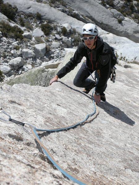 Claudio on the airy ridge of the last pitch
