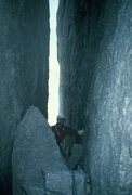 Rock Climbing Photo: Tunelling inside the Great North Chimney.