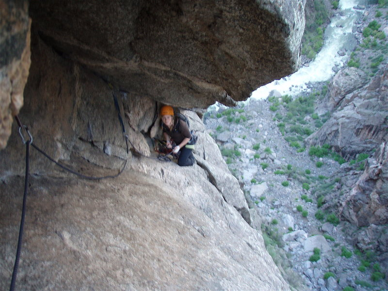 Rock Climbing Photo: Looking back at Amy Haessly at the base of the Vec...