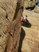 Rock Climbing Photo: 9-year-old Harry on Wolverine.