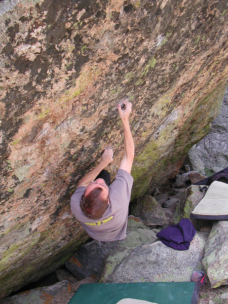 Rock Climbing Photo: The cross-through off the right hand.