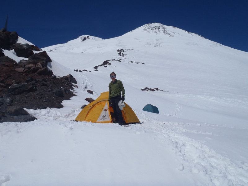 Camp with Elbrus summit in the background