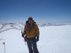Rock Climbing Photo: Me on the summit with the crater rim and a small l...
