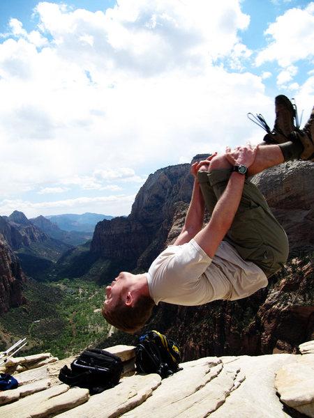 Rock Climbing Photo: Me doing a back flip on top of Angel's Landing