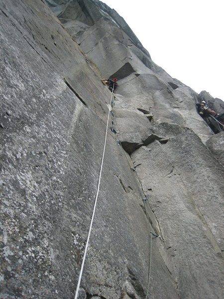 Rock Climbing Photo: Corey high on P3 of Golden Arch on the UTW.