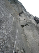 Corey high on P3 of Golden Arch on the UTW.