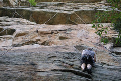Rock Climbing Photo: Kevin at the top of the initial crack.  The rope i...