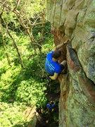 Rock Climbing Photo: Matt fighting the pump on Dave's Dangle