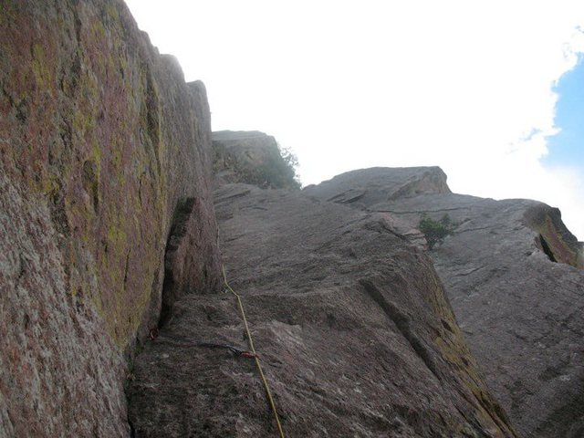 top belaying on over the hill right after thin piton crux<br>
