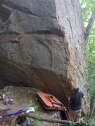 Rock Climbing Photo: The start holds lie by Kelsen's hips.