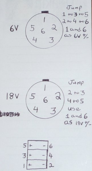 Here's the jumper configuration, remember it's reversed on the male and female plug so double check that.