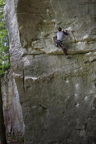 Doug Fischer climbing Narcissus