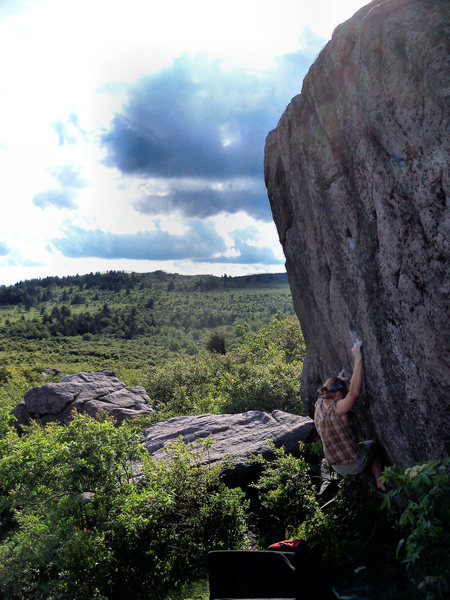 "Travis on ""Horizon Line"" (v5), on the Horizon Boulder, Highlands Area, GHSP, Va"