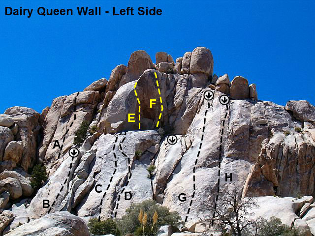 DQ Wall - Left Side photo/topo, Joshua Tree NP <br> <br> A. The Foot Massage (5.10b)<br> B. Norm (5.10a)<br> C. Leap Erickson (5.10b)<br> D. Leap Year Flake (5.7)<br> E. Pat Adams Dihedral (5.11c)<br> F. Toxic Waltz (5.12c)<br> G. The Mojus (5.10c)<br> H. Get Right or Get Left (5.9)