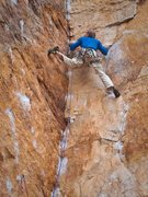 Rock Climbing Photo: Mike Hillan on Orestes, Mount Arapiles.