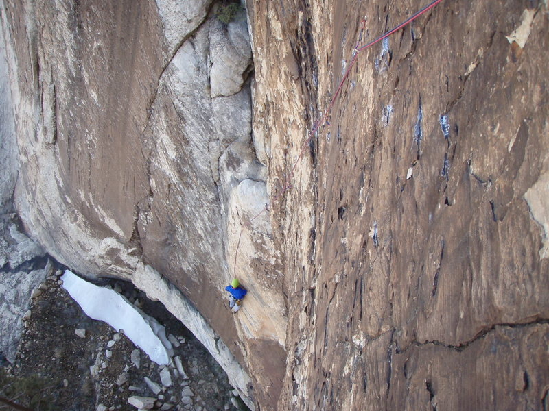 Rock Climbing Photo: Climbing the crux 5.11c pitch off of Sherwood fore...