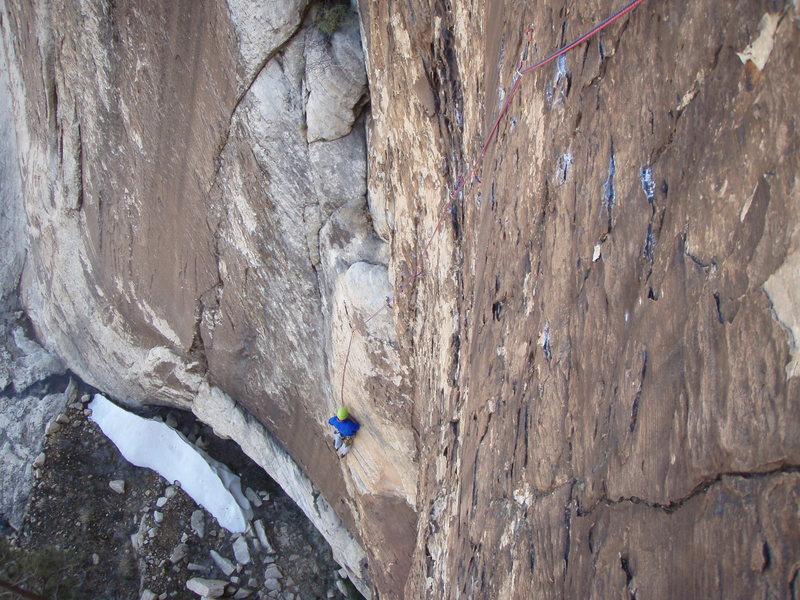 Rock Climbing Photo: Climbing the crux 5.11c pitch off of Sherwood fore...