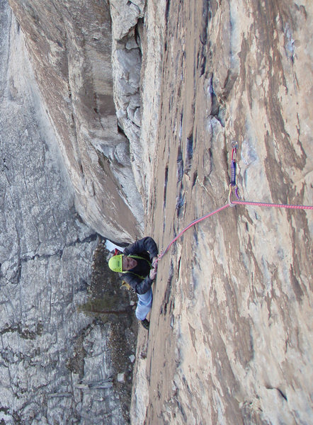 Rock Climbing Photo: A few ptiches up the Dogma headwall in the sustain...