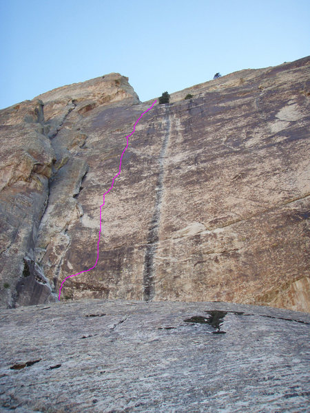 Rock Climbing Photo: A look up at the headwall with the route line draw...