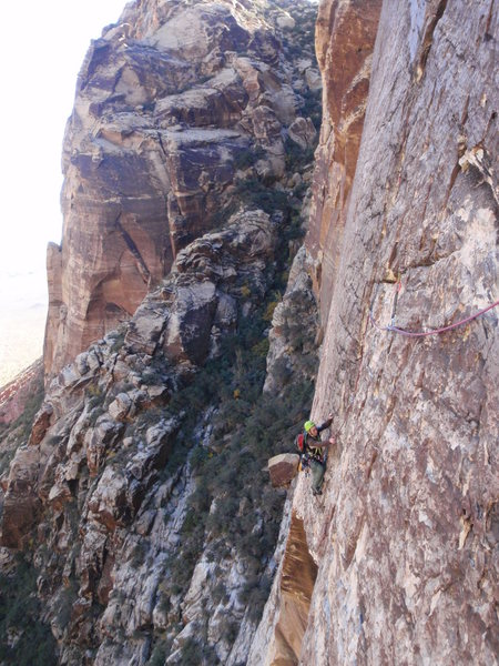 Rock Climbing Photo: Traverse pitch (3rd) of Fiddler on the Roof
