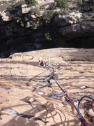 Rock Climbing Photo: Midway up the wall of the very well protected face...
