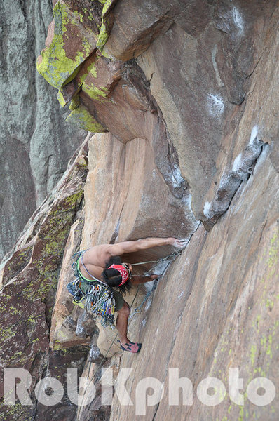 Nick Chan on 4th pitch of Naked edge 5.11b