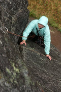 Rock Climbing Photo: Cold fingers don't deter Tracy as she moves higher...