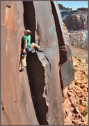 Rock Climbing Photo: Josh Janes on Desert Vuarnet 5.12, Scarface Wall, ...