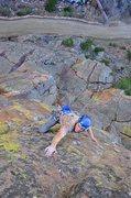Rock Climbing Photo: Scott Bennett on Hairstyles&Attitude 5.12, Bastill...